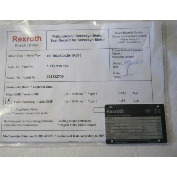BOSCH REXROTH SERVO MOTOR SE-B5.440.020-10000 (SEB544002010000) #1 image